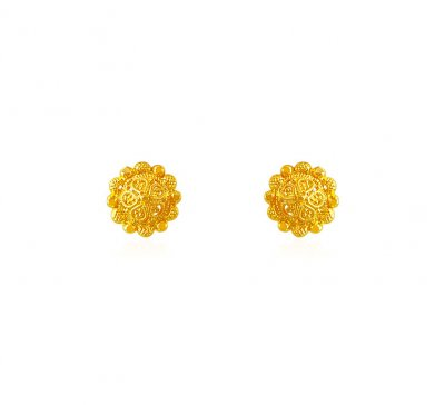 22k Gold Baby Earrings ( 22 Kt Gold Tops )