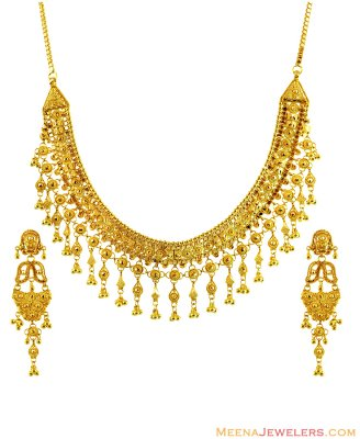 22K Fancy Filigree Necklace Set ( 22 Kt Gold Sets )