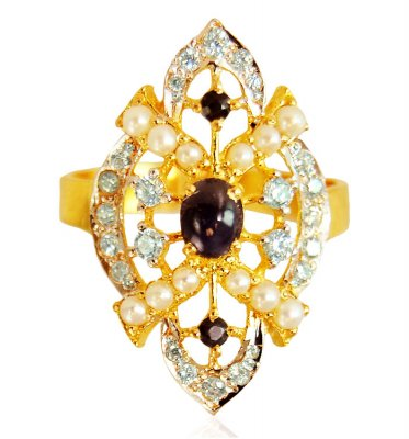22k Gold Colored Stones Ring ( Ladies Rings with Precious Stones )