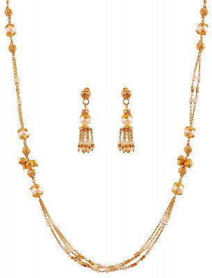22K Designer Pearls Necklace Set ( Light Sets )