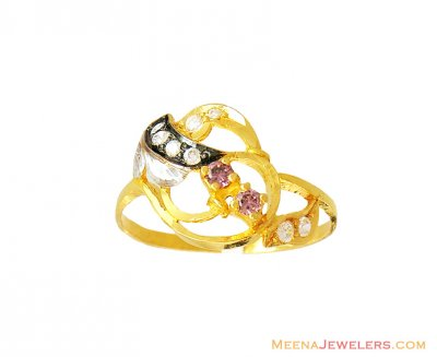22k Fancy Colored Stones Ring  ( Ladies Signity Rings )