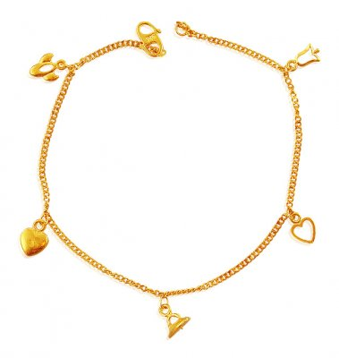 22K Gold Ladies Charm Bracelet - BrLa18631 - 22K Yellow Gold Fancy ... 9baa4beb89e2