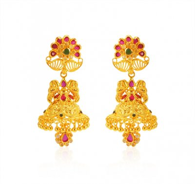 22kt Gold Traditional Earrings ( 22Kt Gold Fancy Earrings )