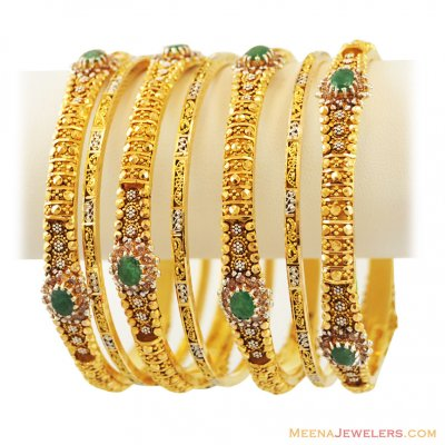 22k Antique 2Tone Emerald Set(7 Pc) ( Set of Bangles )