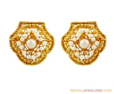 Designer Pearl Earrings 22k Gold ( Precious Stone Earrings )