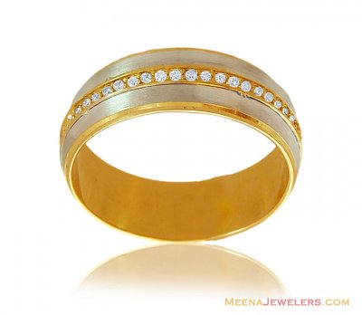 18K Two Tone Fancy CZ Band ( Wedding Bands )
