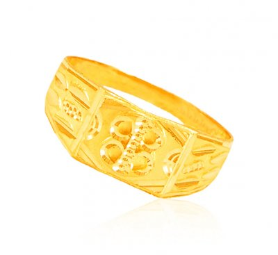 22k Mens Gold Ring Fancy Style ( Mens Gold Ring )
