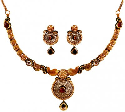 22K Gold Antique Light Necklace Set ( Antique Necklace Sets )