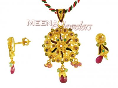 22Kt Gold Fancy Pendant ( Fancy Pendant Set )