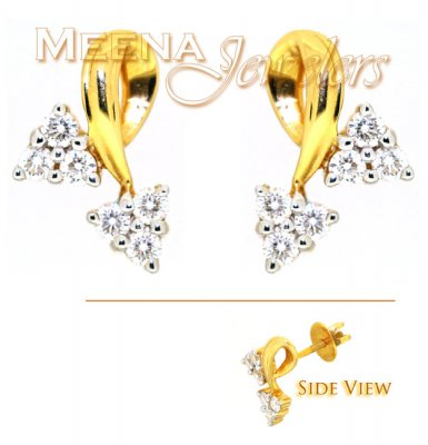 18Kt Gold Genuine Diamond Earrings ( Diamond Earrings )