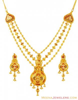 22k Gold Traditional Necklace Set ( 22 Kt Gold Sets )