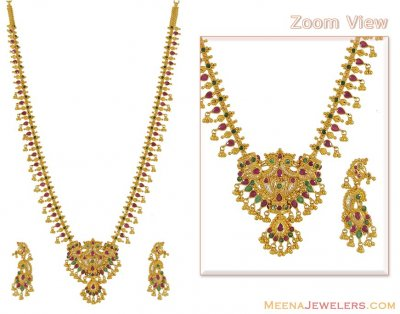 Emerald and Ruby Necklace Set (22k Gold) ( Combination Necklace Set )
