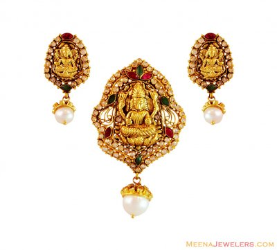 22K Temple Pendant and Earring Set ( Antique Pendant Sets )