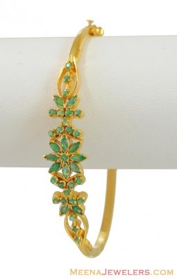 Gold Bangle with Emeralds ( Precious Stone Bangles )