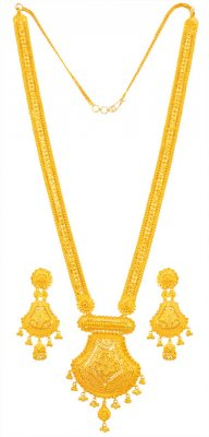 22kt Gold Long Necklace Earring Set ( 22 Kt Gold Sets )