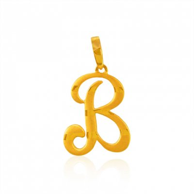 22Kt Gold Pendant with Initial(B) ( Initial Pendants )