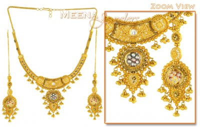 22K Antique Necklace with Earrings ( Antique Necklace Sets )
