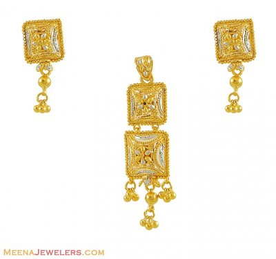 22Kt Gold Pendant Set(Two Tone) ( Gold Pendant Sets )