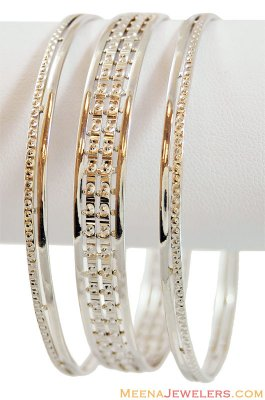 22K Fancy Rhodium Plated Bangles ( Two Tone Bangles )
