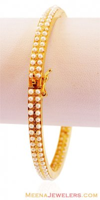 Gold Bangle With Pearls ( Precious Stone Bangles )