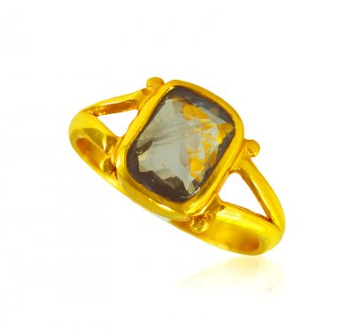 22k Gold Blue Saphire Ring  ( Ladies Rings with Precious Stones )