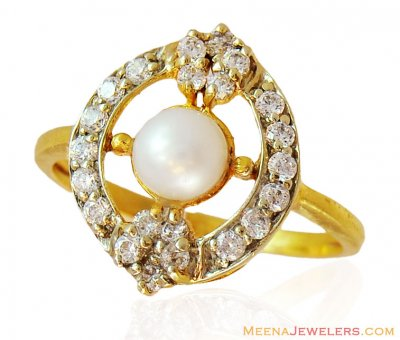 Fancy 22k Ring with Pearl and CZ ( Ladies Signity Rings )