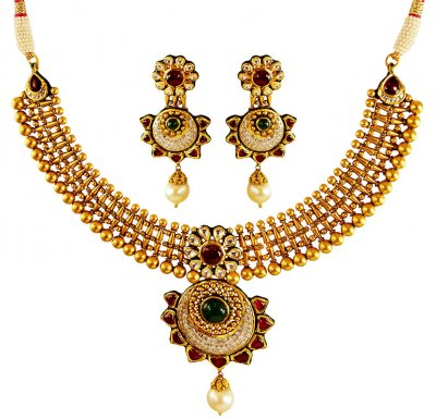22 Karat Gold Antique Necklace Set ( Antique Necklace Sets )