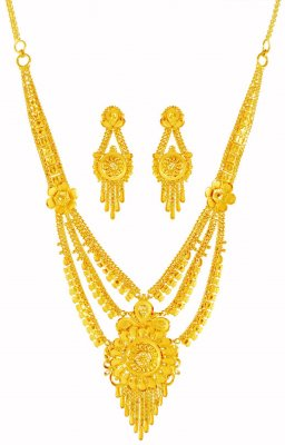 22k Layered Necklace Set ( 22 Kt Gold Sets )