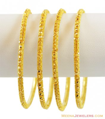 22K Gold Filigree Bangles (4 PC) ( Gold Bangles )