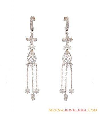 White Gold Fancy Earrings 18K  ( Long Earrings )