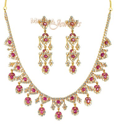 22Kt Gold Ruby and CZ Necklace ( Combination Necklace Set )