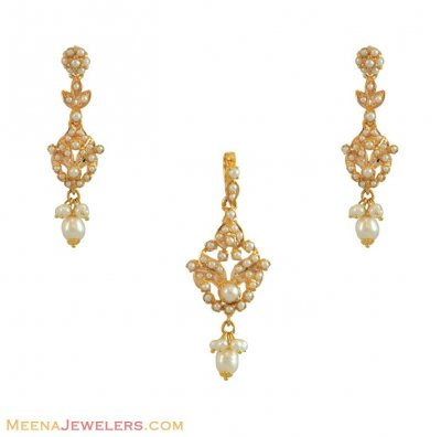 Gold Pendant Set (with Pearls) ( Fancy Pendant Set )