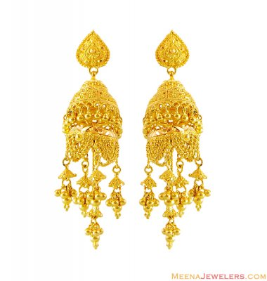 22k Long Chandelier Earrings ( Long Earrings )