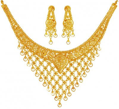 22Kt Gold Necklace Earring Set ( 22 Kt Gold Sets )