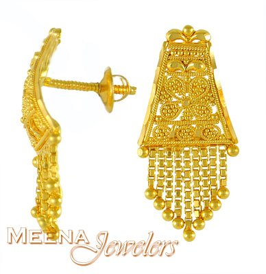 Gold Tops with Hangings ErGt3152 22K Gold earrings with