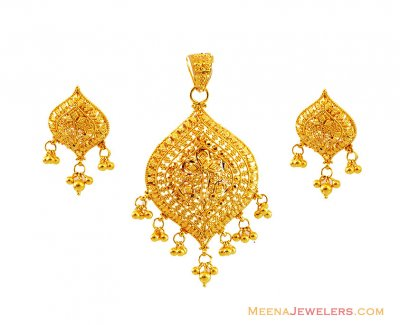 22K Filigree Gold Pendant Set  ( Gold Pendant Sets )