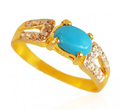 22kt Gold Turquoise Stone Ring ( Ladies Rings with Precious Stones )