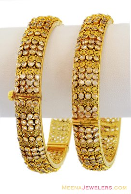 22K Gold Antique Polki Type Bangles (2pcs) ( Antique Bangles )