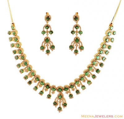 18Kt Emerald Diamond Necklace Set ( Diamond Necklace Sets )