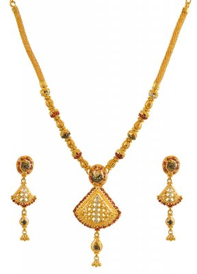 22K Three Tone Necklace Set ( 22 Kt Gold Sets )
