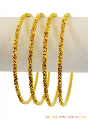 22K Filigree Set of Bangles (4 Pcs) ( Set of Bangles )