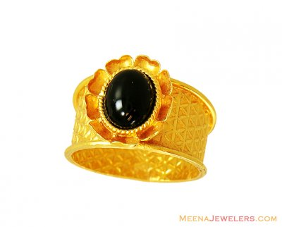 22K Fancy Black Stone Studded Ring ( Ladies Rings with Precious Stones )