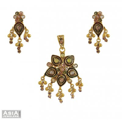 22k Indian Antique Pendant Set ( Antique Pendant Sets )