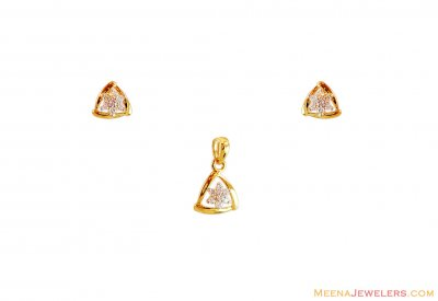 22K Signity Pendant and Earring Set ( Fancy Pendant Set )