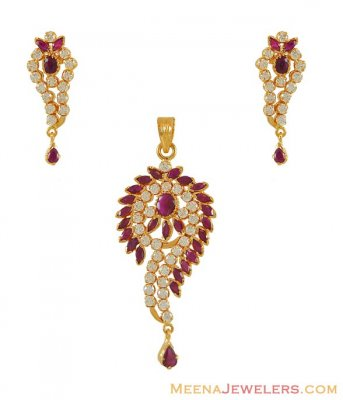 22K Fancy Ruby Cz Pendant Set ( Precious Stone Pendant Sets )