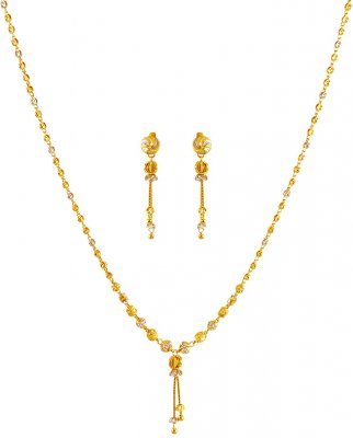 22K Gold 2 Tone Necklace Set ( Light Sets )