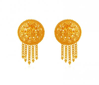 22k Filigree Earrings ( 22 Kt Gold Tops )
