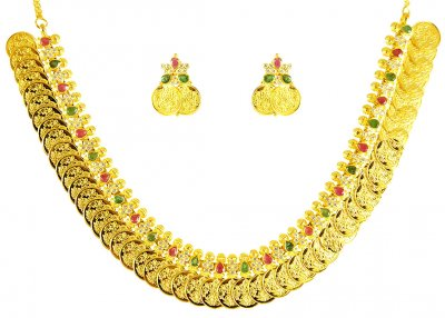 22kt Gold Long Kasu Mala (Set) ( 22 Kt Gold Sets )