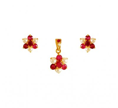22Kt Gold Ruby, Pearl Pendant Set ( Precious Stone Pendant Sets )