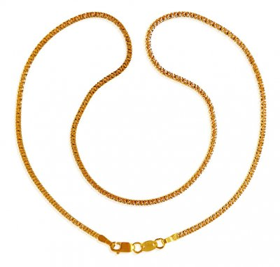 22k Gold  Two Tone Chain (16 In) ( Plain Gold Chains )